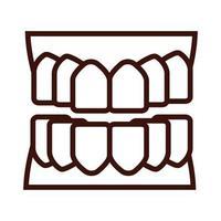 estilo de linha da parte do corpo dos dentes vetor