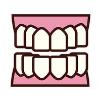 dentes, parte do corpo, estilo plano vetor