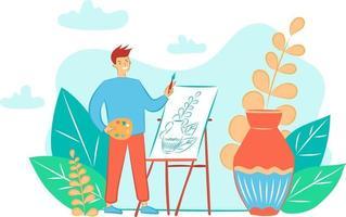 esta é uma ilustração plana com um pintor e um homem desenha uma natureza morta com um vaso em um cavalete vetor