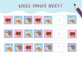 o que vem a seguir com desenhos de animais fofos da floresta, ilustração vetorial, planilha lógica para crianças com alce raposa ouriço vetor
