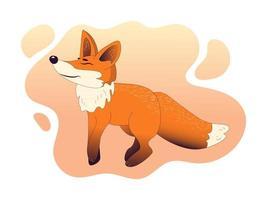 raposa bonito dos desenhos animados isolada no fundo ilustração vetorial de chanterelle vermelha vetor