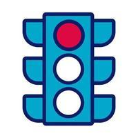 linha de semáforo e ícone de estilo de preenchimento vetor