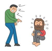 desenho animado homem mau insulta ilustração vetorial de morador de rua vetor