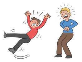desenho animado homem escorrega e cai e seu mau amigo ri ilustração vetorial vetor