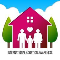 Poster liso da adopção da família da composição do logotipo para a ilustração do vetor das crianças