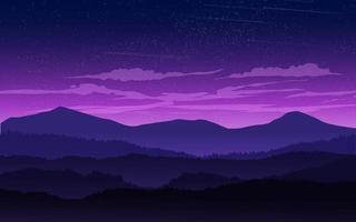 paisagem montanhosa de céu noturno vetor