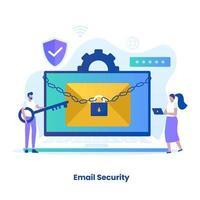 design plano do conceito de proteção de e-mail vetor