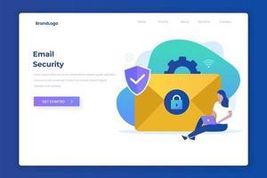 conceito de página de destino de ilustração de proteção de e-mail vetor