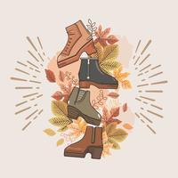 Coleção de vários tipos de botas de outono vetor