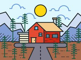 Cabine Moderna Na Floresta vetor
