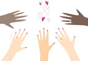 Mãos, desgastar, anel dourado vetor