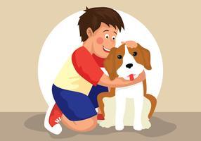 Menino e sua ilustração de cachorro vetor