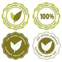 ícone vegan de produto natural para produto com ingredientes naturais vetor