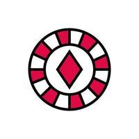 ficha de casino com ícone isolado de diamante vetor