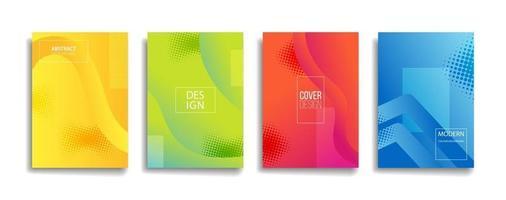 brilhante gradiente cor abstrata linha padrão moderno fundo conjunto de design de capa vetor
