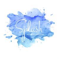 Belo design de respingo aquarela colorido azul vetor