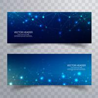 Banners de polygona bela tecnologia azul cenografia vetor
