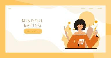 meditação comendo atentamente vetor