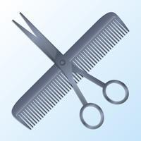 Vector realista tesoura e pente barbearia conceito