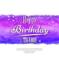 Mão pintada em aquarela cartão - feliz aniversário colorido vetor