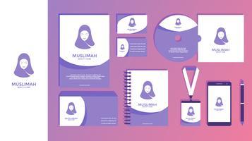 Muslimah Beauty Care Feminina Vetor De Identidade Corporativa