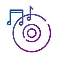 disco compacto e ícone de gradiente de notas musicais vetor