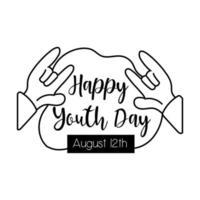 feliz dia da juventude letras com estilo de linha de símbolo de rock and roll de mãos vetor
