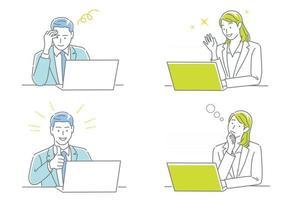 empresário e mulher de negócios trabalhando em seus laptops, expressando emoções diferentes isoladas em um conjunto de fundo branco vetor