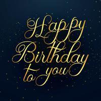 Design de texto dourado linda feliz aniversário