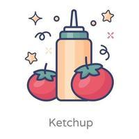 tomate garrafa de ketchup vetor