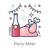 refeição de festa e ketchup vetor
