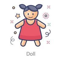 linda boneca vetor