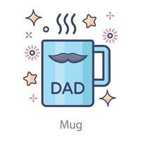 caneca de café de presente do dia dos pais vetor