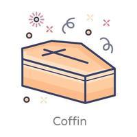 desenho de caixão e funeral vetor