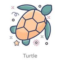 vista de cima da tartaruga fofa vetor