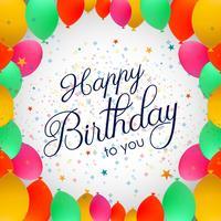 Balões de festa de luxo e confetes coloridos cartão de aniversário invita vetor