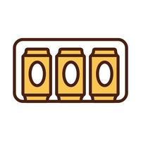 latas de cerveja bebem linha internacional e estilo de preenchimento vetor