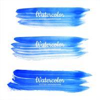 Belo conjunto de aquarela azul traçado de fundo vetor