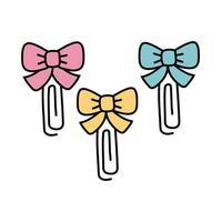 clipes de papel com linhas decorativas de gravata borboleta vetor