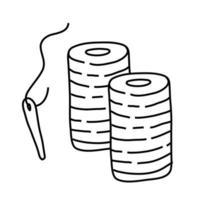 ícone de estilo de linha de agulhas e fios vetor