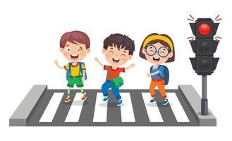 conceito de trânsito com personagens de desenhos animados vetor