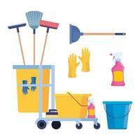 conjunto de ícones de materiais de limpeza vetor