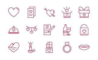 feliz dia dos namorados paixão romântica ícones de amor definir design de linha vermelha vetor