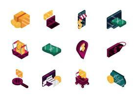 compras on-line pedido desconto comércio mercado financeiro conjunto de ícones isométricos isolados vetor