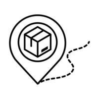 entrega embalagem caixa de papelão rastreamento de localização ponteiro distribuição de carga remessa logística de mercadorias ícone de estilo de linha vetor