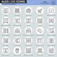 Linha fina web design e desenvolvimento conjunto de ícones para site, site móvel e apps. Contém ícones como Codificação, Aplicativo Móvel, Usabilidade. 48x48 Pixel Perfeito. Curso editável. Ilustração vetorial.