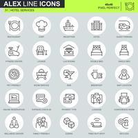 Ícones de serviços de hotel de linha fina definido para site, site móvel e apps. Contém ícones como restaurante, serviços de quarto, recepção. 48x48 Pixel Perfeito. Curso editável. Ilustração vetorial.