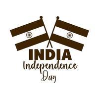 Feliz dia da independência, bandeiras da Índia no ícone de estilo de silhueta de inscrição vetor