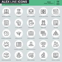 Ícones de educação e conhecimento de linha fina definido para site, site móvel e apps. Contém ícones como estudar, escola, formatura. 48x48 Pixel Perfeito. Curso editável. Ilustração vetorial.