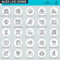 Linha fina de saúde e medicina, ícones de equipamentos médicos para site, site móvel e apps. Contém ícones como DNA, Ambulância. 48x48 Pixel Perfeito. Curso editável. Ilustração vetorial.